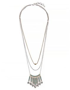 Antique-inspired necklace featuring turquoise-hued stones and an eclectic two-tone finish.<br/><br/>• 24 inches long (plus 2 inch extender chain) x 5 inches high x 1.75 inches wide