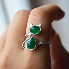 Green Agate Cat Ring, Sterling Silver Cat Ring, Zirconia Cat Ring ...
