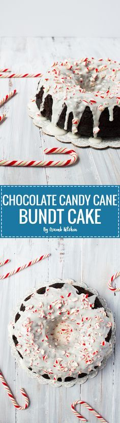 A cake packed with rich, peppermint-flavoured chocolate plus a mint glaze and candy canes to garnish. | crumbkitchen.com