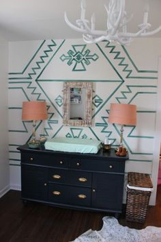Fresh and Bohemian Little Girl's Nursery with a Kilim Focal Wall i love the patteren
