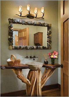 Log home bathrooms - Natural wood Mirror Rustic Bathrooms Rustic Bathroom Mirrors, Bathroom Vanity Designs, Rustic Bathrooms, Modern Bathroom, Natural Bathroom, Bathroom Lighting, Log Home Decorating, Diy Home Decor, Decorating Ideas