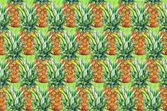Pineapple fruit seamless pattern by Art By Silmairel on @creativemarket