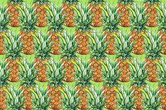 Pineapple fruit seamless pattern by Art By Silmairel on @creativemarket