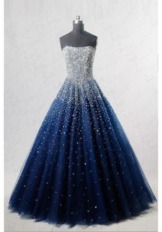 Navy Blue Strapless Floor Length Prom Ball Gown with Beading/Sequins on Storenvy Prom Dresses Blue, Navy Blue Quinceanera Dresses, Amazing Prom Dresses, Blue Gown Dress, Tulle Prom Dress, Strapless Prom Dresses, Pretty Dresses, Homecoming Dresses, Banquet Dresses