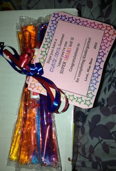 End of Year Gift for Students! :)  I added my own twist to some stuff I saw online! Did freeze pops + Smarties :) Teacher Gifts From Class, Teacher Christmas Gifts, Student Gifts, Best Teacher, Student Treats, End Of School Year, End Of Year, Too Cool For School, School Stuff