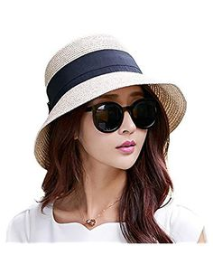 93d4324e0e2 Siggi Floppy Summer Sun Beach Straw Fedoras Hats Wide Brim for Women Beige
