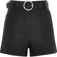 Black leather-look belted high waisted shorts - smart shorts - shorts - women