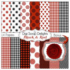 Digital Papers in Red Black & White by DigiScrapDelights on Etsy, Bonus Rose #Houndstooth #Chevron