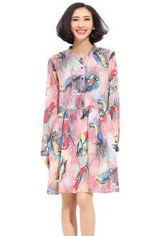 2015-Fashion-Womens-Parrot-Printed-Long-Sleeve-Knee-Length-Shirt-Dress