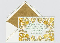 Invitaciones para bodas, Pablo Neruda, primavera, flores, verde, día de la poesia, dorado, tarjetas para bodas    Para Más Info Visita: www.LaBelleCarte.com    Online wedding invitations, online weddings cards, flowers, world poetry day, gold, spring    For More Info Visit: www.LaBelleCarte.com/en