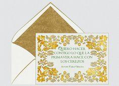 Invitaciones para bodas, Pablo Neruda, primavera, flores, verde, día de la poesia, dorado, tarjetas para bodas    Para Más Info Visita: www.LaBelleCarte.com    Online wedding invitations, online weddings cards, flowers, world poetry day, gold, spring    For More Info Visit: www.LaBelleCarte.com/en