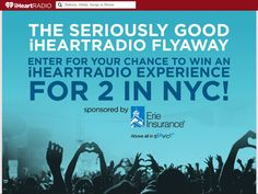 """Enter The """"Seriously Good"""" iHeartRadio Flyaway Sweepstakes for a chance to win a 2-night trip for two to New York City, NY!"""