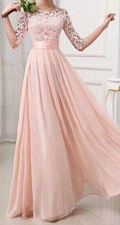 Lovely pink 1/2 Sleeve maxi dress ==