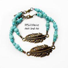 Feather bracelet, Turquoise bracelet, Mom and daughter bracelet, Gift for mom, Boho kids bracelet by MSwithlove on Etsy