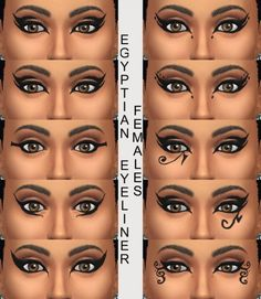 Good resource for types of eyeliner. Source: 10 Egyptian Eyeliners by Simmiller at Mod The Sims via Sims 4 Updates Egyptian Eye Makeup, Egypt Makeup, Cleopatra Makeup, Egyptian Party, Egyptian Costume, Cleopatra Costume, Egyptian Nails, Greek Makeup, Arab Makeup