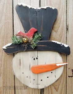 Primitive snowman head door greeter from My Spare Time Designs