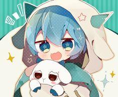 Anime Neko, Kawaii Anime, Kawaii Chibi, Cute Chibi, Anime Art, Blue Hair Anime Boy, Blue Anime, Cute Anime Pics, Cute Anime Boy