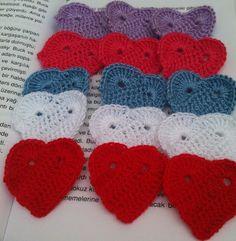 Set of 15 crochet hearts  appliquesBirthday by ArtofAccessory, $15.00