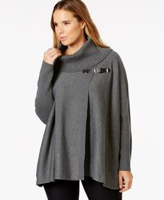 Calvin Klein Plus Size Cowl-Neck Buckled Cape Sweater