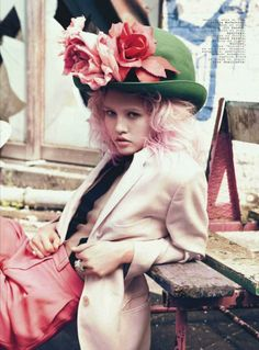 wow! floral hat. love. love love. pink hued hair too.