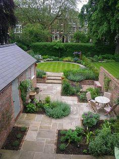 Back Garden Design, Garden Design Plans, Small Garden Landscape Design, Patio Design, Small Gardens, Outdoor Gardens, Small Garden Patios, Small Garden Plans, Large Backyard