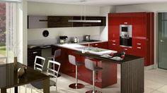 Cuisine ouverte Light par Cuisinella, laquée rouge http://www.m-habitat.fr/penser-sa-cuisine/implantation-cuisine/notre-selection-des-plus-belles-cuisines-ouvertes-29_R