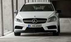 A look at the nose of the Mercedes-Benz A45 AMG.