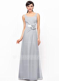 A-Line/Princess Scoop Neck Floor-Length Chiffon Satin Bridesmaid Dress With Ruffle Flower(s) (007052240) - JJsHouse