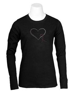 Pink Ribbon Heart Womens Black And White Baseball Shirt