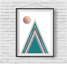 Teal and Copper Mountain Print, Nordic Art, Abstract Print, Geometric Art, Home Art, Triangles Print, Scandinavian Art, Modern Wall Print