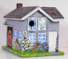 Grey Stucco Wooden Birdhouse Handmade by BirdhouseBlessings