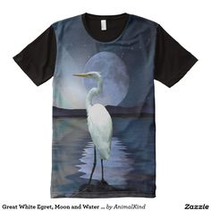 Great White Egret, Moon and Water Wildlife Art 2 All-Over Print T-shirt