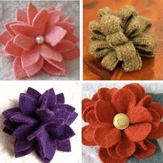 These pins made from recycled felted wool sweaters are so much fun to make.