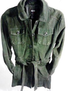 Helium  Outerwear  Green Suede Leather Jacket, Women's Medium