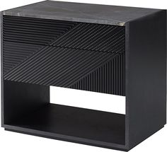 Multi-medium metal stone and lathing, touch-open drawers.