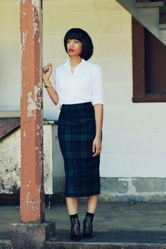 tartan skirt, lace socks and heels