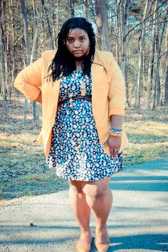 brokefatshion:    Mustard Flowers in the Forrest: completely thrifted outfit blazer,dress,belt all $.99 and shoes $1.50