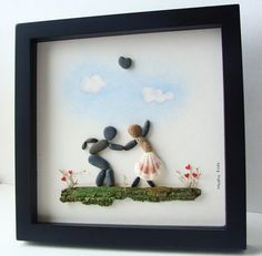 Pebble Art Wedding Gift Unique Engagement Gift by MedhaRode