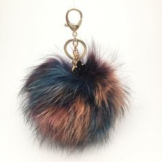 NEW Collection Dimensional Swirl Multi Color Raccoon Fur Pom Pom bag charm clover flower charm...