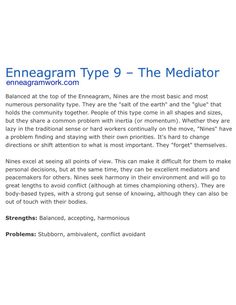 Enneagram type 9 enneagramwork.com Infp Personality, Personality Profile, Infj Traits, Codependency Recovery, Enneagram Types, Isfj, Get To Know Me, Meditation, Encouragement Quotes
