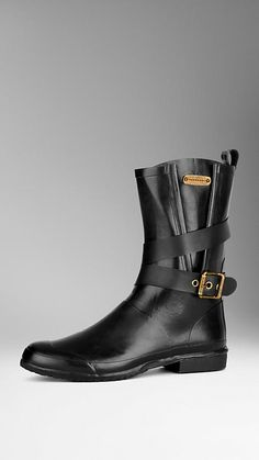 Black Belted Rain Boots - Image 1