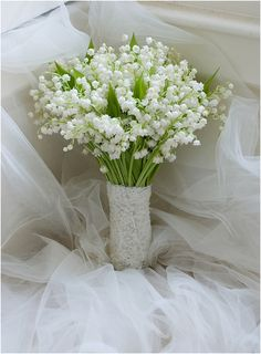 Ultra Romantic Wedding Posy/Bouquet Featuring Lily Of The Valley Hand Tied With Lace Ribbon White Lily Flower, White Lilies, White Flowers, Beautiful Flower Arrangements, Floral Arrangements, Beautiful Flowers, Lily Of The Valley Bouquet, Lily Of The Valley Wedding Flowers, Hand Bouquet