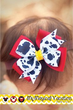Jessie boutique baby headband disney bow ott by mymagicalvac Diy Baby Headbands, Diy Headband, Baby Bows, Headband Pattern, Boutique Bows, Baby Boutique, Ariel Hair, Disney Hair Bows, Princess Hair Bows