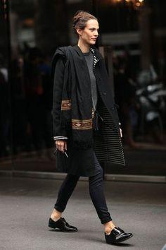 black layers, black shoes