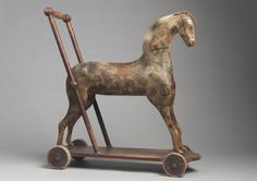 Sculptural Folk Art Horse Form Push Toy - Hand Carved and Painted Wood, Horse Hair and Metal English, c.1870