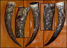 Hvergelmir Drinking Horn - Comissioned carved Drinking Horn with a Norse Knotwork Pattern. Design by Wodenswolf