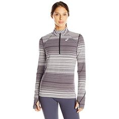 Asics Women's Thermostripe Lightweight Thermal 1/2 Zip Top -- See this great product. (This is an affiliate link) #Clothing