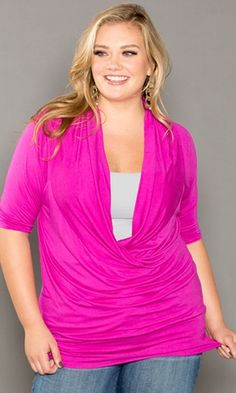 Dress it up or dress it down, get one in every color! This plus size top is a staff pick and customer favorite! A chic, wearable jersey-knit top! Classic style for the ultimate in feminine curve appeal, this top will quickly become a wardrobe staple. Plus Size Fashion For Women, Plus Size Womens Clothing, Clothes For Women, Clothes Sale, Size Clothing, Moda Plus Size, Plus Size Tops, Plus Size Dresses, Plus Size Outfits