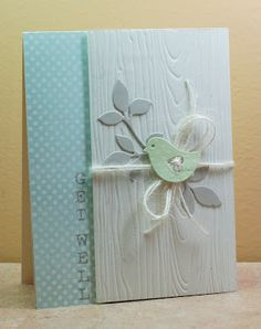 the woodgrain texture on white... So gorgeous! :) Bird Builder punch - Get Well card - Stampin' Up!