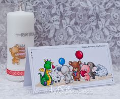 And this will be my third and last entering for the MFT Superstar Card Contest. I invited all my small friends and masked a bunch of them together to join the birthday party. *************************Stamps:  My Favorite Things (Magical Dragons, Adorable Elephants, Ewe…